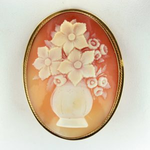 shell cameo pin antique